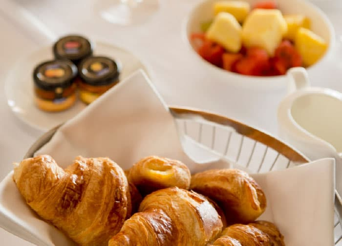 Pastries and fruit from room service